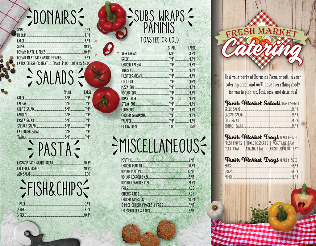 Burnside Pizza Menu